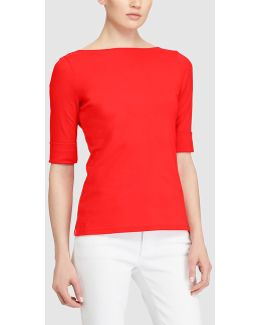 Red T-shirt With Elbow-length Sleeves