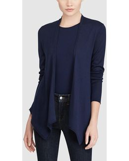 Navy Blue Loose-fitting Cardigan