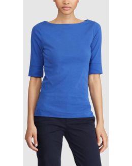 Short-sleeve Boat-neck T-shirt