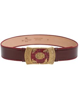Leather Belt With Jeweled Buckle