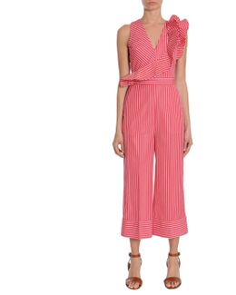 Striped Cotton Ruched Jumpsuit