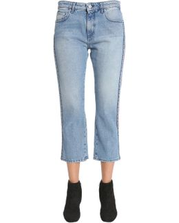 Cropped Jeans With Side Logo Bands