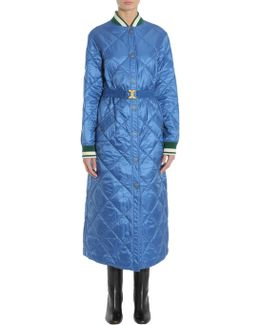 Long Loriner Quilted Coat In Technical Fabric