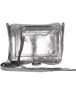 Metallic Mini Loveless Cracklè Leather Crossbody Bag