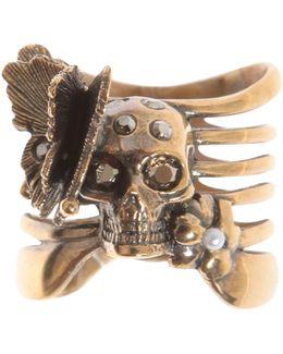 Skeleton Butterfly Brass Ring
