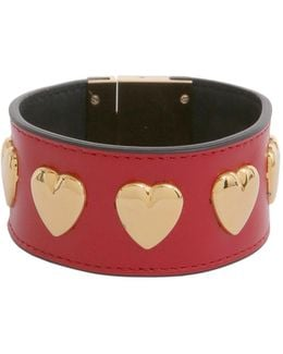 Leather Bracelet With Brass Heart