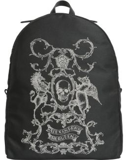 Coat Of Arms Printed Backpack In Technical Fabric