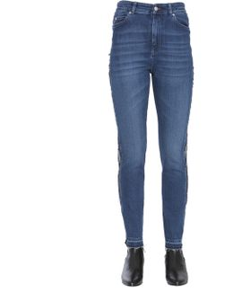 High Waist Jeans With Side Band