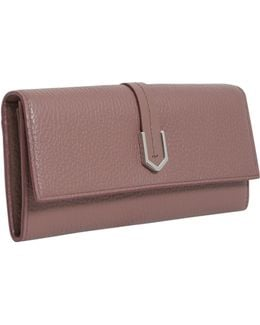 Leather Continental Wallet With Geometric Hardware