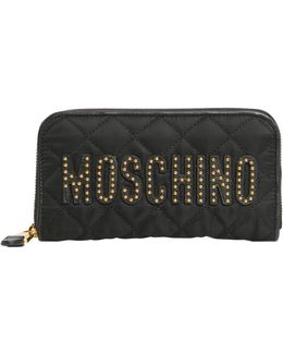 Zip Around Quilted Wallet With Studded Logo