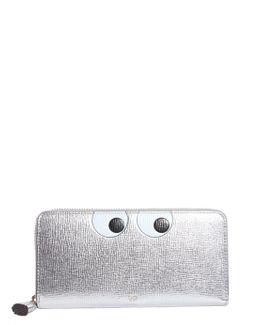Eyes Large Zip Around Leather Wallet