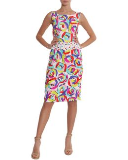 Printed Sheath Dress With Rouches