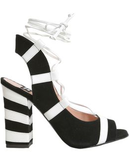 Striped Suede Sandal With Block Heel