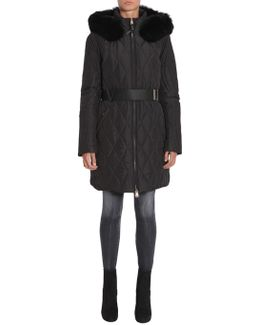 Long Stitched Down Jacket With Belt