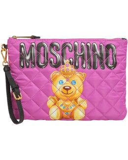 Quilted Teddy Bear Print Pouch In Technical Fabric