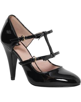 Patent Leather Decolletè With Ribbons