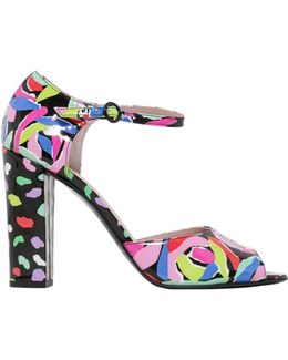 Leather Sandal With Candy Print