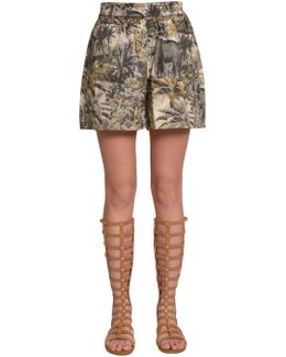 Cotton Shorts With Fantasy Print