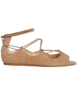 Barbara Peep Toe Suede Flats
