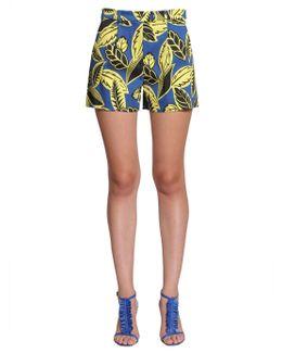 Tropical Print Crêpe Shorts