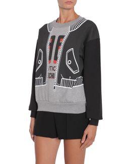 Round Collar Sweatshirt With Trompe L'oeil Print
