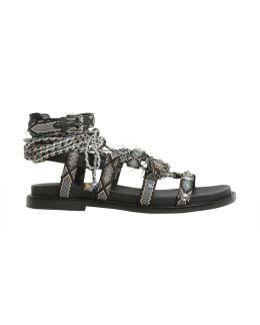 Mascara Gladiator Sandals With Tassels