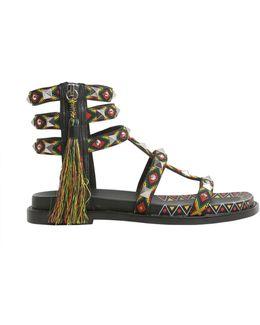 Emboridered Medelin Sandals With Tassel