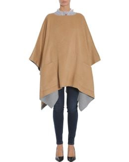 Two-coloured Combed Wool Poncho