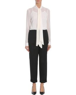 Chiffon Shirt With Pleated Foulard