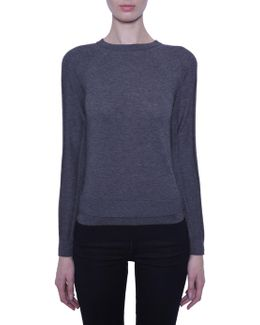 Round Collar Jumper With Contrasting Colour Details