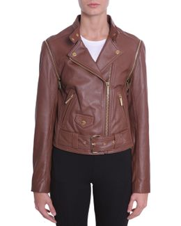 Biker Leather Jacket With Detachable Sleeves