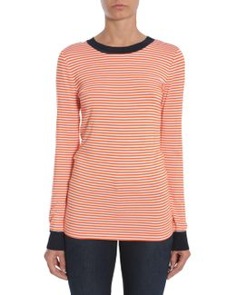 Striped T-shirt With Contrasting Colour Trim