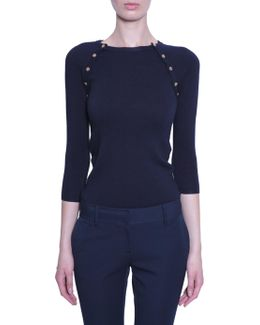 Ribbed Jumper With Ragla Sleeve And Buttons