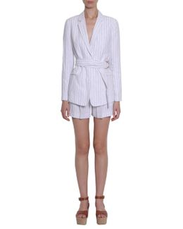 Belted Pin Striped Linen Jacket
