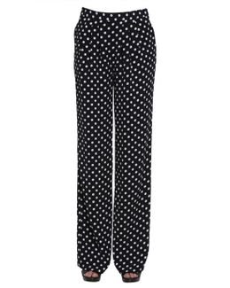 Macro-dot Print Trousers With Darts
