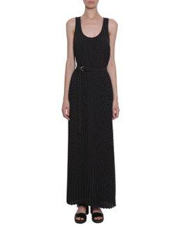 Long Micro-dot Printed Dress