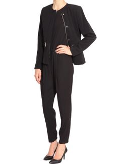 Zipped Jacket With Metal Eyelets Detail