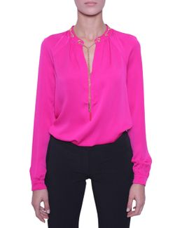 Silk Blouse With Chain