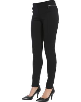 Stretch Twill Trousers With Zip