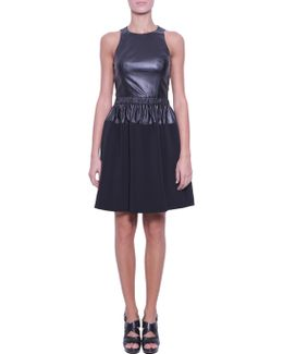 Leather Dress With Crêpe Insert