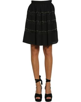 Studded Crêpe Skirt With Lace Insert