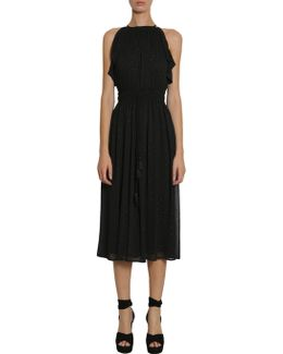 Sleeveless Plumetis Dress With Tassels
