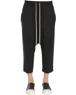 Cropped Trousers With Elastic Waistband And Drawstring Fastening