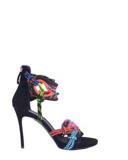 Suede Sandal With Multicolor Laces