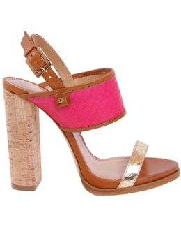 Leather Sandal With Cork Heel