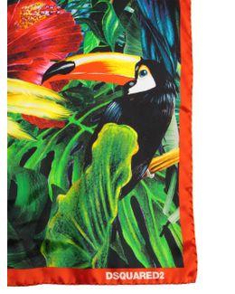 Silk Parrot Print Foulard