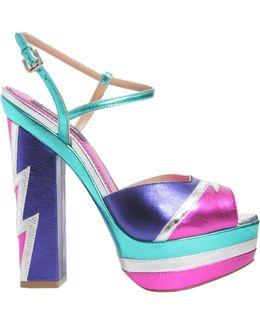 Glam Flash Laminated Leather Sandals