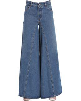 Jeans A Gamba Extra Ampia In Denim Di Cotone
