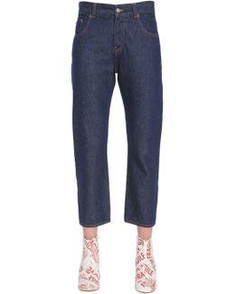 Jeans Modello Capri In Denim Di Cotone