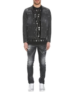Skinny Long Sparkle Wash Denim Jacket